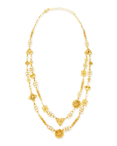 24k Yellow Gold Plated Medallion Ornament Long Necklace