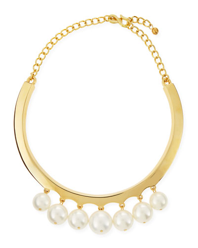 White Pearly Beaded Collar Necklace