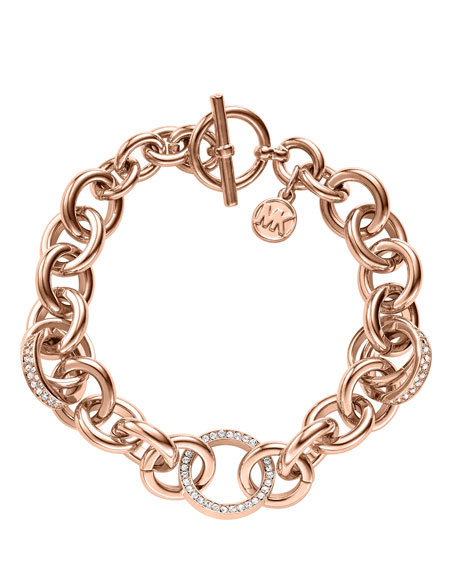 Pave Link Bracelet, Rose Golden