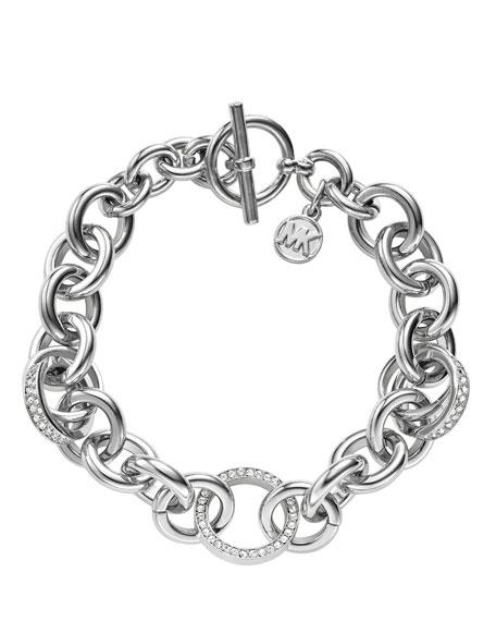 Pave Link Bracelet, Silver Color
