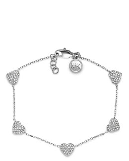 Michael Kors  Pave Heart Bracelet, Silver Color