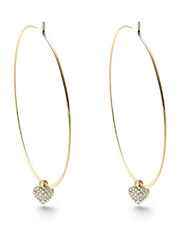 Michael Kors  Heart Charm Hoop Earrings, Golden