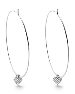 Michael Kors  Heart Charm Hoop Earrings, Silver Color