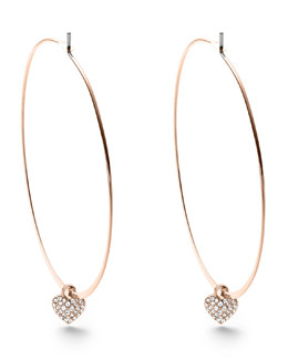 Michael Kors  Heart-Charm Hoop Earrings, Rose Golden