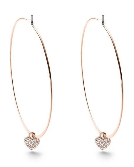 Heart-Charm Hoop Earrings, Rose Golden