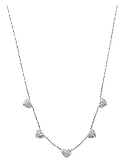 Michael Kors  Pave Heart Charm Necklace, Silver Color