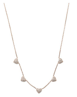 Michael Kors  Pave Heart Charm Necklace, Rose Golden