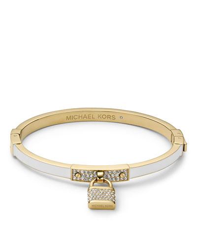 Michael Kors  Pave Padlock Hinge Bracelet, Golden/White