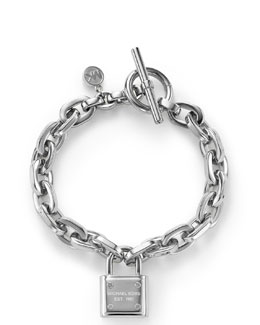 Michael Kors  Padlock Toggle Bracelet, Silver Color