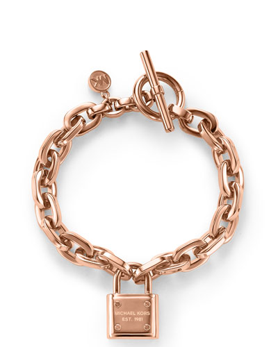 Padlock Toggle Bracelet, Rose Golden