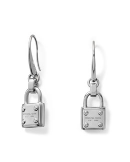 Michael Kors  Padlock Drop Earrings, Silver Color