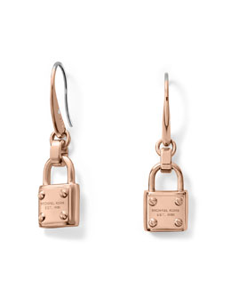 Michael Kors  Padlock Drop Earrings, Rose Golden