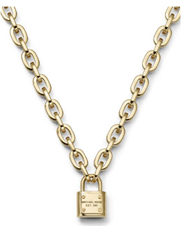 Michael Kors  Padlock Toggle Necklace, Golden