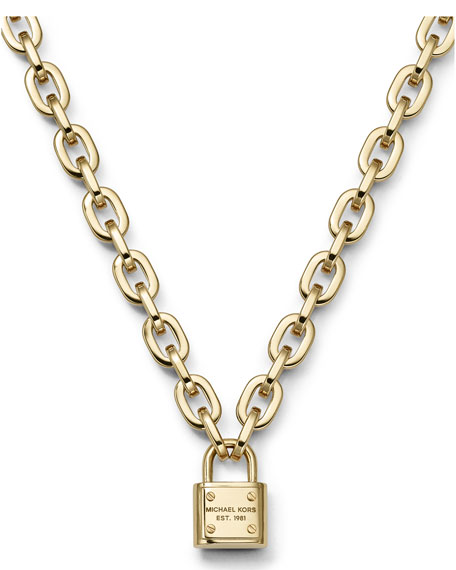 Michael Kors Padlock Toggle Necklace Golden Neiman Marcus