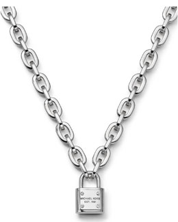 Michael Kors  Padlock Toggle Necklace, Silver Color