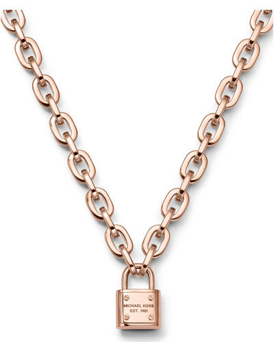 Padlock Toggle Necklace, Rose Golden