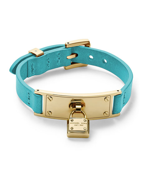 Leather Wrap Padlock Bracelet, Turquoise/Golden