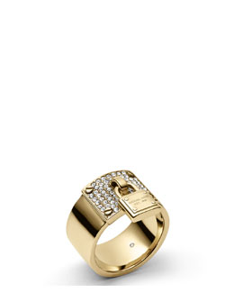 Michael Kors  Padlock Plaque Ring, Golden