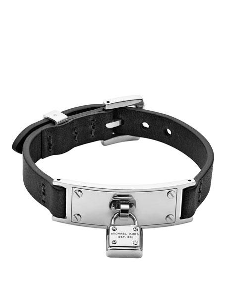 Leather Belt Bracelet, Black/Silver Color