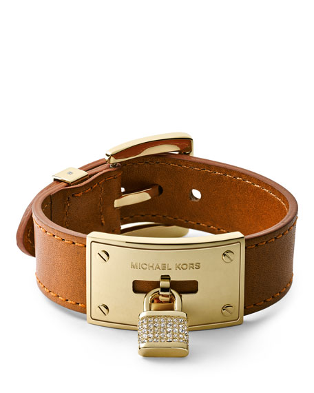 Pave Padlock Leather Bracelet, Golden