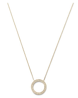 Michael Kors  Pave Circle Pendant Necklace, Golden