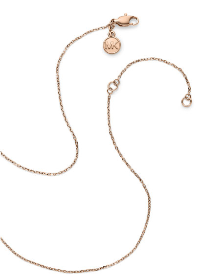 Pave Circle Pendant Necklace, Rose Golden