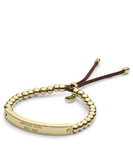 Michael Kors  Logo Plaque Bead Bracelet, Golden