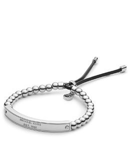 Michael Kors  Logo Plaque Bead Bracelet, Silver Color
