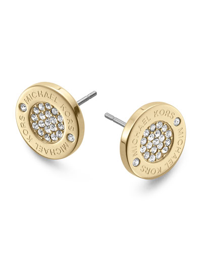 Logo Pave Stud Earrings, Golden