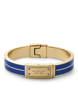 Michael Kors  Plaque Hinge Bangle, Golden/Blue
