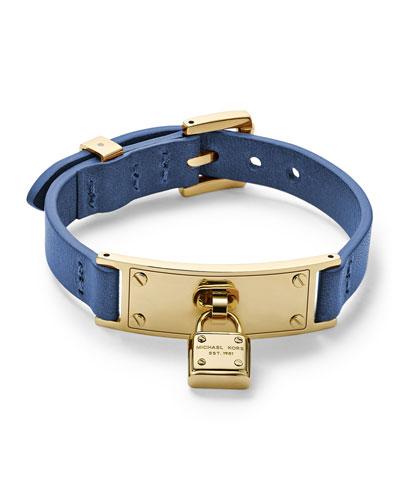 Michael Kors  Leather Wrap Padlock Bracelet, Golden/Cobalt