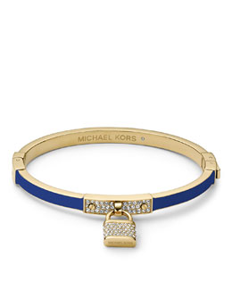 Michael Kors  Pave Padlock Hinge Bangle, Golden/Blue