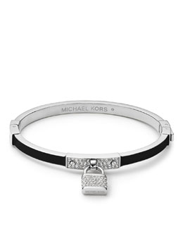 Michael Kors  Pave Padlock Hinge Bangle, Silver Color/Black