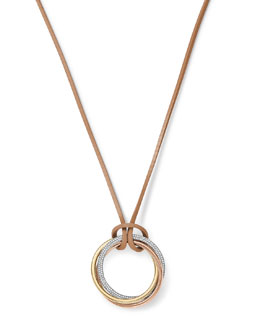 Michael Kors  Tri-Tone 3-Ring Pendant Necklace