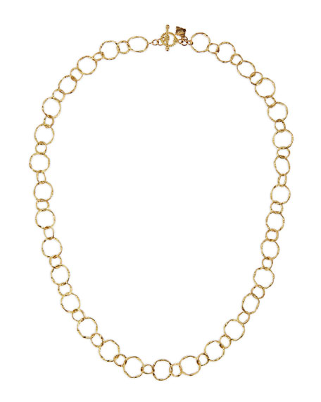 "18k Yellow Gold Circle Link Necklace, 18""L"