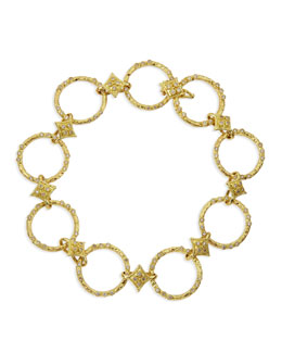 Armenta 18k Yellow Gold Circle Link & Diamond Bracelet