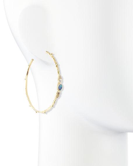 Sculpted 18k Opal Diamond Sapphire Hoop Earrings