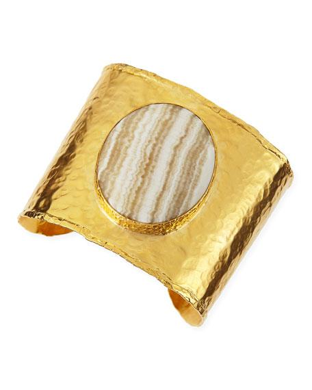 18k Gold Vermeil Cuff with Striped Agate Center