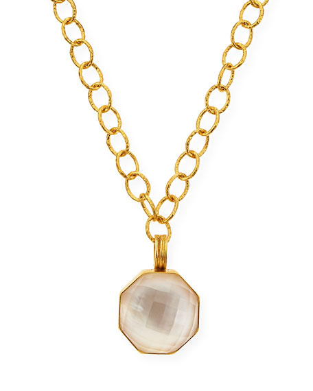 "Mother-of-Pearl Hexagon Pendant Necklace, 18""L"