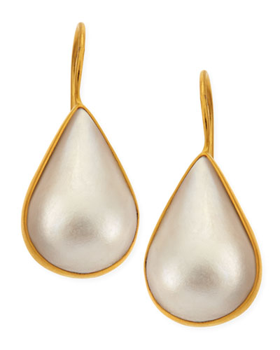 Dina Mackney White Mabe Mother-of-Pearl Teardrop Wire Earrings