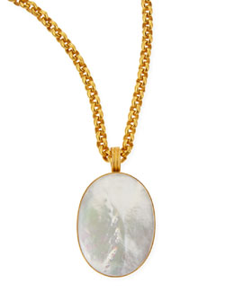 "Dina Mackney Mother-of-Pearl Oval Pendant Necklace, 33""L"
