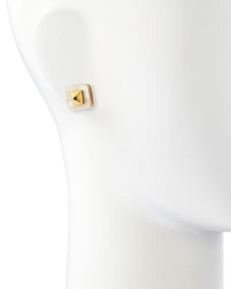 Shaba Light Horn Bronze Pyramid Stud Earrings