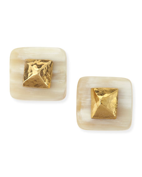 Ashley Pittman Shaba Light Horn Bronze Pyramid Stud Earrings