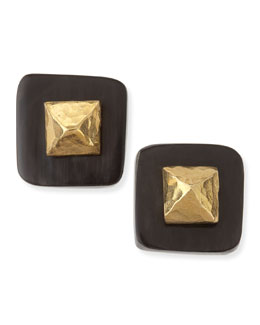 Ashley Pittman Shaba Dark Horn Bronze Pyramid Stud Earrings