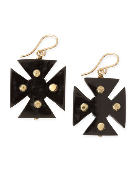 Araba Dark Horn Maltese Cross Earrings