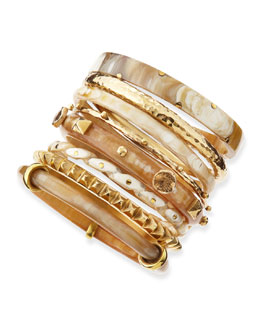 Ashley Pittman Hazina Light Horn Bangles, Set of 8