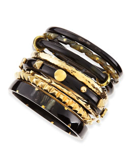 Ashley Pittman Hazina Dark Horn Bangles, Set of 8