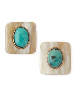 Ashley Pittman Maji Light Horn Turquoise Stud Earrings