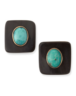 Ashley Pittman Maji Dark Horn Turquoise Stud Earrings