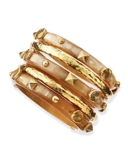 Ashley Pittman Sura Light Horn Bangles, Set of 5